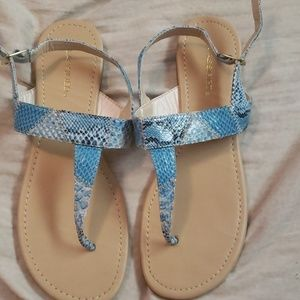 Womens snakeskin blue sandals size 8.5 new